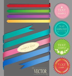 Set of ribbons and labels vector
