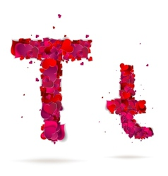 Letter t made from hearts Love alphabet vector image