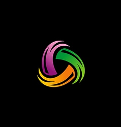 Colorful circle spin abstract logo vector