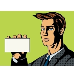 Businessman with card pop art style vector