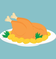 Fried chicken on plate vector