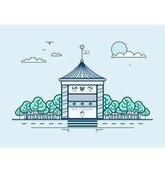 City street with ice cream kiosk small vector