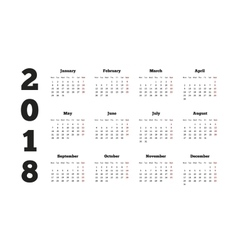 Calendar on 2018 year with week starting from vector