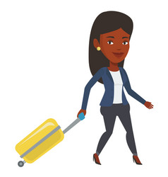 african woman walking with suitcase vector image