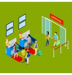 Airport Check-in Point with Isometric People vector image