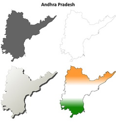 Andhra pradesh blank outline map set vector