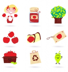 autumn apple icon set vector image