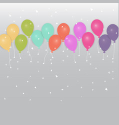 background of colored party balloons and confetti vector image