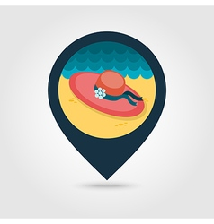 Beach hat pin map icon Summer Vacation vector image vector image