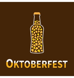 Beer bottle heart oktoberfest vector