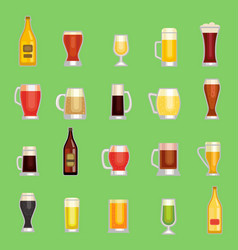 Beer mug glass set alcholol drinks vector