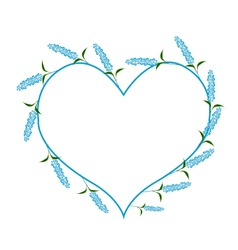 Blue sage flowers in a heart shape vector