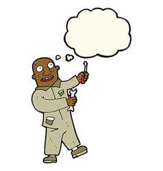 Cartoon mechanic with thought bubble vector