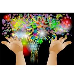 confetti and hand vector image