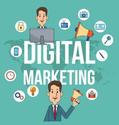 Digital marketing man teamwork campaign poster vector