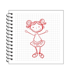 Doodle girl on notepad paper vector