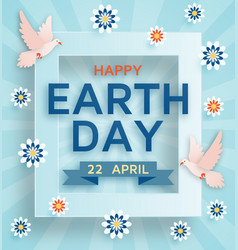 Earth day cute background with doves vector