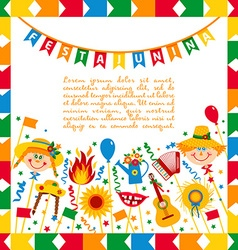 Festa junina village festival in brasil banner vector