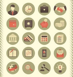 Financial and Business Icons Gray Set vector image