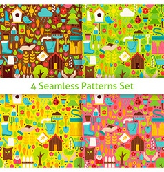 Four Flat Spring Garden Seamless Patterns Set vector image vector image