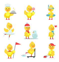funny duckling characters set cute yellow duck in vector image