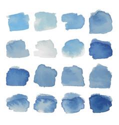 Gray-blue blots watercolor set vector