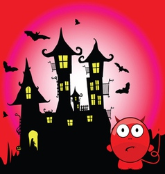 Halloween with devil cartoon vector