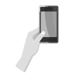 Hand holding phone icon gray monochrome style vector