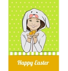 Happy Easter cartoon card with girl and chick vector image vector image