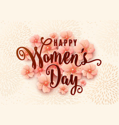 Happy womens day background design with light pink vector