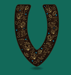 Letter v with golden floral decor vector