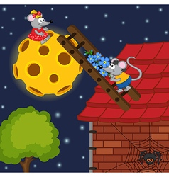 Mouse climbs ladder to moon vector