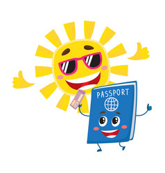 passport and sun characters symbolizing vacation vector image vector image