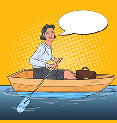 Pop art business woman on boat business vision vector