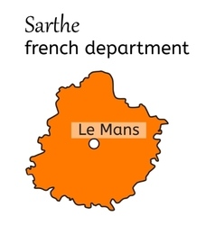 Sarthe french department map vector