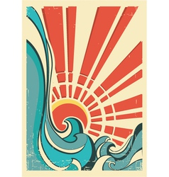 sea wavesVintage of nature poster with yellow sun vector image