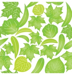 Seamless with green leaves on white background vector image vector image
