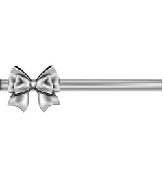 Silver ribbon with a bow vector image