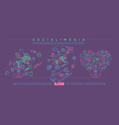 social media colorful linear vector image