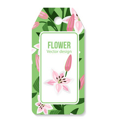 Tag with lilies flower pattern vector
