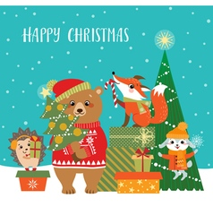 Woodland Christmas greetings vector image vector image