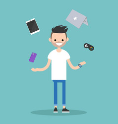 Young bearded man juggling electronic devices vector