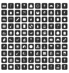 100 fruit party icons set black vector image vector image