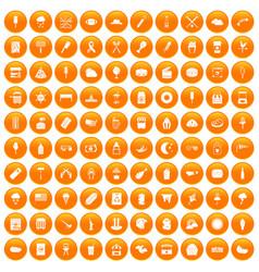 100 street food icons set orange vector