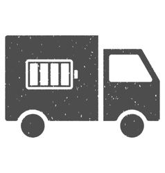 Battery delivery truck icon rubber stamp vector