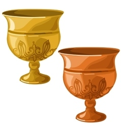 Antique gold and copper bowl isolated vector