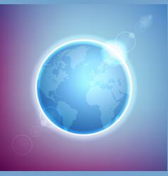 Planet earth on colorful defocused lights bokeh vector