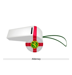 A beautiful white whistle of alderney flag vector