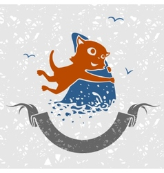 Cat Fisherman vector image