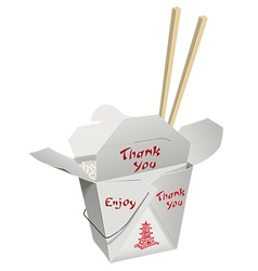 Chinese take-out with chop sticks vector